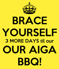 Poster: BRACE YOURSELF 3 MORE DAYS til our OUR AIGA BBQ!