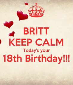 Poster: BRITT KEEP CALM Today's your 18th Birthday!!!
