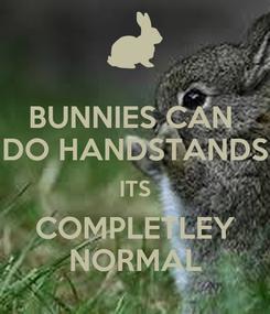 Poster: BUNNIES CAN  DO HANDSTANDS ITS COMPLETLEY NORMAL