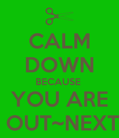 Poster: CALM DOWN BECAUSE  YOU ARE  OUT~NEXT