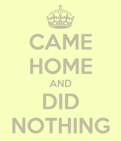 Poster: CAME HOME AND DID NOTHING