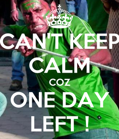 Poster: CAN'T KEEP CALM COZ ONE DAY LEFT !