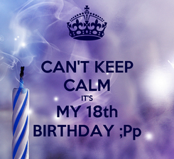 Poster: CAN'T KEEP CALM IT'S MY 18th BIRTHDAY ;Pp