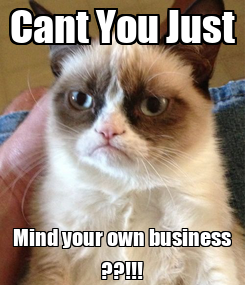 Poster: Cant You Just Mind your own business ??!!!