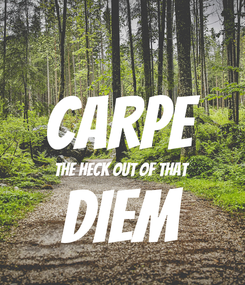 Poster:  carpe the heck out of that diem