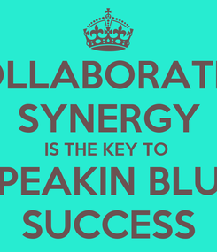 Poster: COLLABORATIVE SYNERGY IS THE KEY TO  PEAKIN BLU SUCCESS