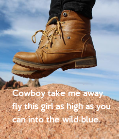 Poster: Cowboy take me away, fly this girl as high as you can into the wild blue.