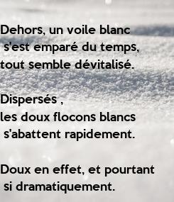 Poster: Dehors, un voile blanc  s'est emparé du temps,  tout semble dévitalisé.  Dispersés ,  les doux flocons blancs  s'abattent rapidement.   Doux en effet, et pourtant  si dramatiquement.