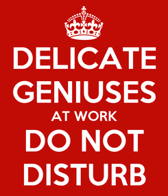 Poster: DELICATE GENIUSES AT WORK DO NOT DISTURB