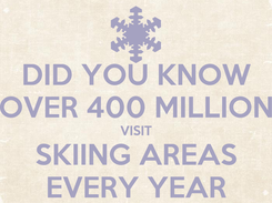 Poster: DID YOU KNOW OVER 400 MILLION VISIT SKIING AREAS EVERY YEAR