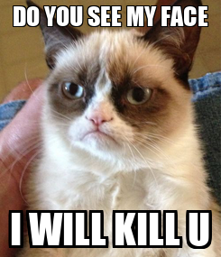 Poster: DO YOU SEE MY FACE I WILL KILL U