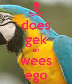 Poster: does gek en wees ego