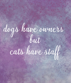 Poster: dogs have owners  but cats have staff