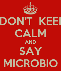 Poster:  DON'T  KEEP CALM AND SAY MICROBIO