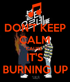 Poster: DON'T KEEP CALM CAUSE  IT'S BURNING UP