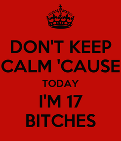 Poster: DON'T KEEP CALM 'CAUSE TODAY I'M 17 BITCHES