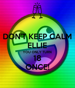 Poster: DON'T KEEP CALM ELLIE YOU ONLY TURN 18 ONCE!