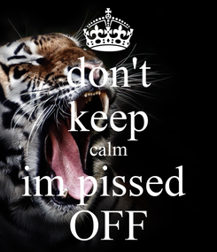 Poster: don't keep calm im pissed  OFF