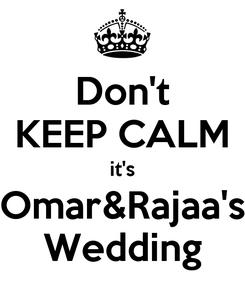 Poster: Don't KEEP CALM it's Omar&Rajaa's Wedding