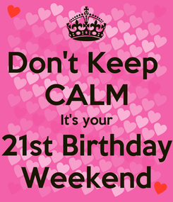 Poster: Don't Keep  CALM It's your 21st Birthday Weekend