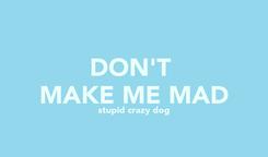Poster: DON'T  MAKE ME MAD stupid crazy dog