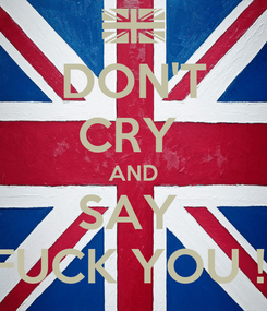 Poster: DON'T CRY  AND SAY  FUCK YOU !