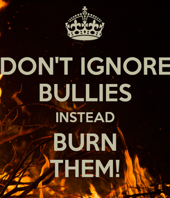 Poster: DON'T IGNORE BULLIES INSTEAD BURN THEM!