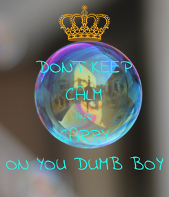 Poster: DONT KEEP CALM AND CARRY ON YOU DUMB BOY