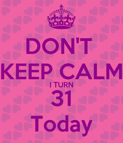 Poster: DON'T  KEEP CALM I TURN 31 Today
