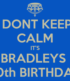 Poster:  DONT KEEP CALM IT'S BRADLEYS  20th BIRTHDAY