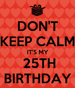 Poster: DON'T KEEP CALM IT'S MY  25TH BIRTHDAY