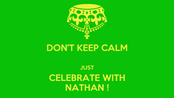 Poster: DON'T KEEP CALM  JUST CELEBRATE WITH NATHAN !
