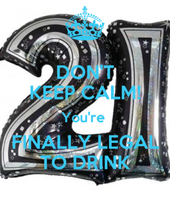 Poster: DON'T KEEP CALM! You're  FINALLY LEGAL TO DRINK
