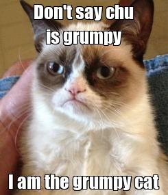 Poster: Don't say chu is grumpy I am the grumpy cat