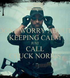 Poster: DONT WORRY ABOUT KEEPING CALM JUST CALL CHUCK NORRIS