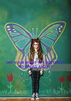 Poster:    DRY YOUR WINGS OFF, BUTTERFLY GO AHEAD AND FLY