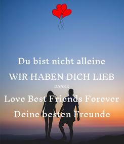 Poster: Du bist nicht alleine WIR HABEN DICH LIEB DANKE Love Best Friends Forever Deine besten Freunde