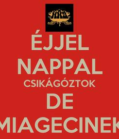Poster: ÉJJEL NAPPAL CSIKÁGÓZTOK DE MIAGECINEK