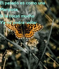Poster: El pasado es como una Mariposa  Si la tocas mucho  Ya no podra  volar