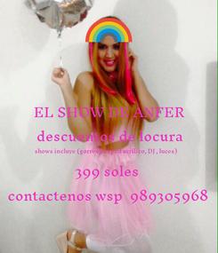 Poster: EL SHOW DE ANFER descuentos de locura shows incluye (gorros,cesped acrilico, DJ , luces) 399 soles  contactenos wsp  989305968