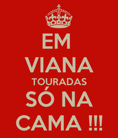 Poster: EM  VIANA TOURADAS SÓ NA CAMA !!!