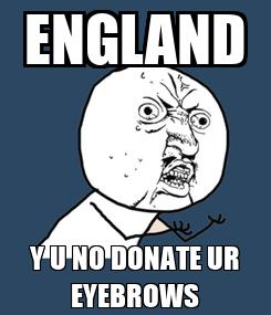 Poster: ENGLAND Y U NO DONATE UR EYEBROWS