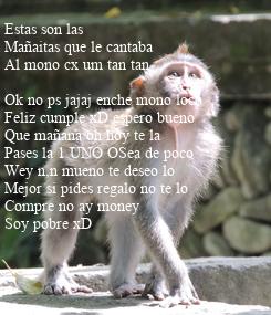 Poster: Estas son las  Mañaitas que le cantaba  Al mono cx um tan tan   Ok no ps jajaj enche mono loco  Feliz cumple xD espero bueno  Que mañana oh hoy te