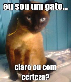 Poster: eu sou um gato... claro ou com certeza?