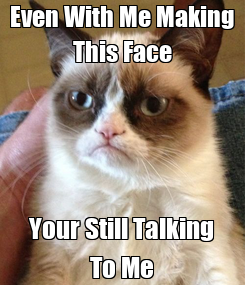 Poster: Even With Me Making This Face Your Still Talking To Me