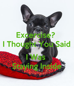 Poster: Excercise?  I Thought You Said  I Was  Staying Inside