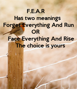 Poster:                  F.E.A.R          Has two meanings