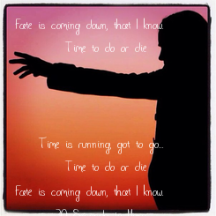 Poster: Fate is coming down, that I know.