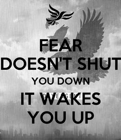 Poster: FEAR DOESN'T SHUT YOU DOWN IT WAKES YOU UP