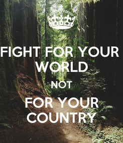 Poster: FIGHT FOR YOUR  WORLD NOT FOR YOUR COUNTRY